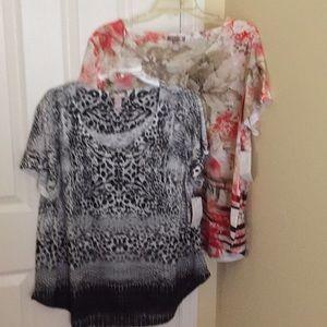 Two New Ladies Print Ladies Blouses Size XL